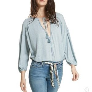 Free People Just A Henley Boho Tunic blouse